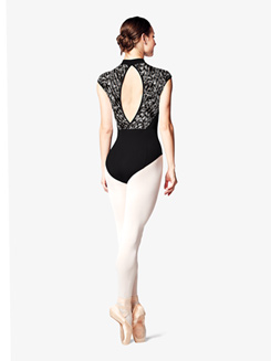 Womens Lily Printed Mesh Mock Neck Leotard