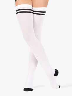 Womens Dual Stripe Dance Thigh High Socks