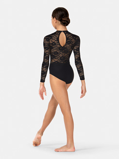 Girls Long Sleeve Lace Leotard