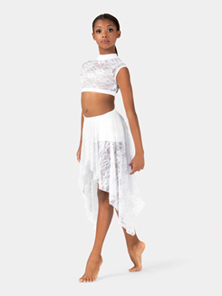 Girls Hi-Lo Lace Performance Skirt