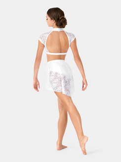 Adult Short Sleeve Lace Performance Crop Top