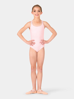 Girls Brushed Cotton Crisscross Back Camisole Dance Leotard
