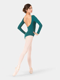 Adult Brushed Cotton V-Back Long Sleeve Leotard