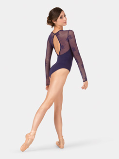 Adult Long Sleeve Flocked Mesh Sweetheart Leotard