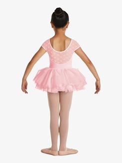 Girls Sweetheart Polka Dot Mesh Short Sleeve Tutu Dress