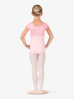 Girls Dotted Short Sleeve Leotard