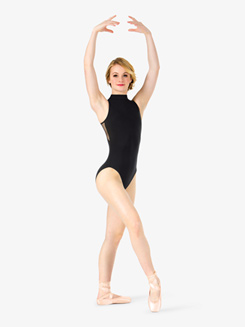 Womens Mesh Back High Neck Tank Leotard