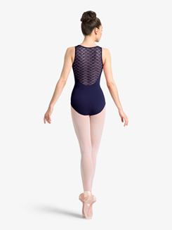 Womens Wavy Mesh Sweetheart Tank Leotard
