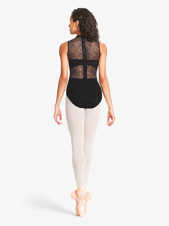 Womens Ornate Mesh Panelled Zip Back Tank Leotard