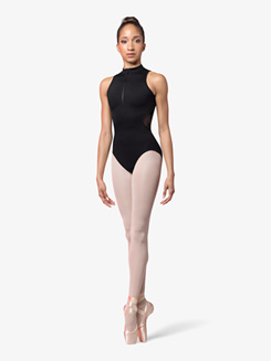 Womens Rose Flock Mesh High Neck Tank Leotard