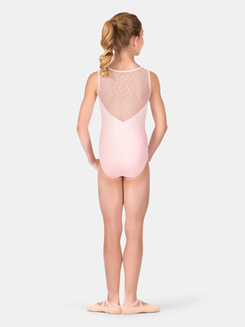 Girls Bow Flock Mesh Tank Leotard