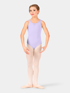 Child Sequin Pleated Mesh Diamond Back Tank Leotard