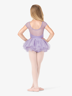 Girls Cap Sleeve Sequin Mesh Ballet Tutu Dress