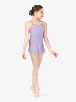 Girls Camisole Sequin Mesh Crisscross Back Ballet Dress