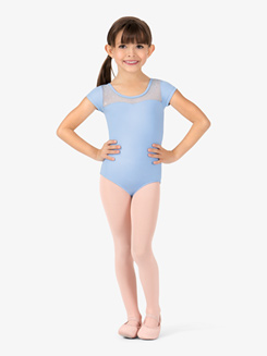 Girls Cap Sleeve Sequin Keyhole Back Leotard