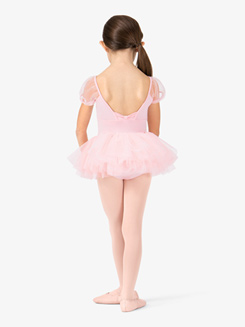 Girls Cap Sleeve Plunging Back Ballet Tutu Dress