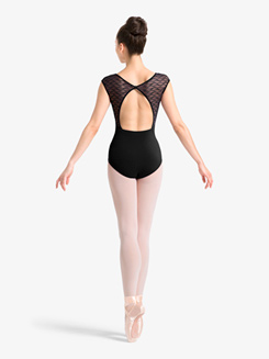 Womens Wave Mesh Cap Sleeve Leotard