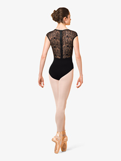 Womens Juliet Floral Lace Cap Sleeve Leotard