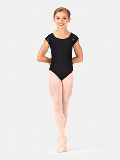 Girls Sequin Tulle Cap Sleeve Leotard