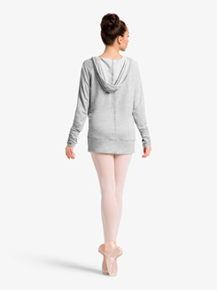 Womens Shirred Warm Up Hooded Sweater