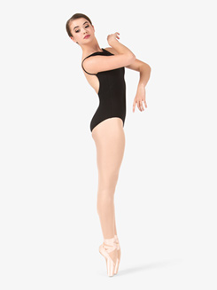 Womens Basket Weave Low Back Halter Leotard