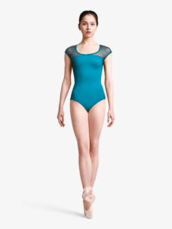 Womens Cap Sleeve Rouleaux Braid Multi-Strap Leotard