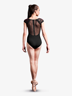 Womens Caged Laser Cut Mesh Cap Sleeve Leotard
