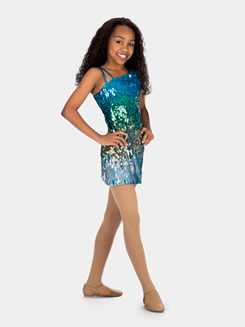 Girls One Shoulder Sequin Dress