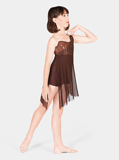 Girls Sequin Lyrical Dress with Attached Shorty Unitard