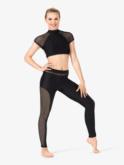 Womens Mesh Panel Dance Leggings
