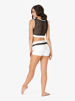Womens Mesh Inset Tank Dance Crop Top