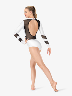 Womens Mesh Keyhole Back Long Sleeve Leotard