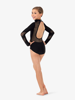 Girls Mesh Keyhole Back Long Sleeve Leotard