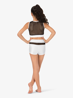 Girls Banded Mesh Dance Shorts