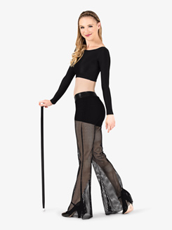 Womens Mesh Dance Wide Leg Pants