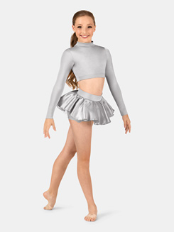 Girls Long Sleeve Satin Mock Neck Crop Top