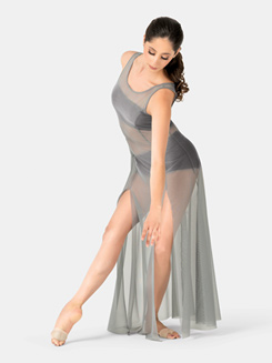 Adult Sleeveless Panelled Mesh Long Dress