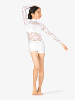 Child Lace Long Sleeve Emballe Short Unitard