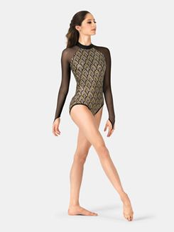 Adult Mock Neck Glitter Long Sleeve Leotard