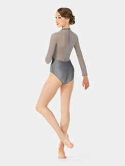 Adult Emballe Mesh Long Sleeve High Neck Leotard