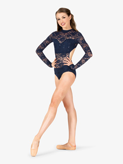 Womens Performance Lace Mock Neck Leotard