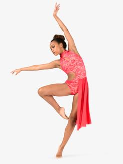 Girls Performance Lace Side Cutout Dress