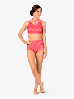 Womens Performance Sequin Lace Bra Top and Briefs Set