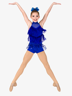 Girls Performance Sequin Fringe Shorty Unitard