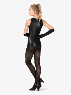Girls Performance Star Faux Leather Leotard