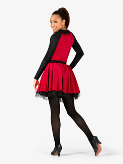 Girls Performance Collared Long Sleeve Tutu Dress