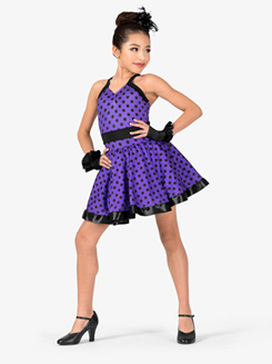 Girls Performance Polka Dot Two-Tone Dress