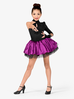 Womens Performance Contrast Satin Asymmetrical Tutu Dress