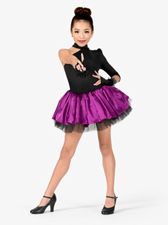 Girls Performance Contrast Satin Asymmetrical Tutu Dress