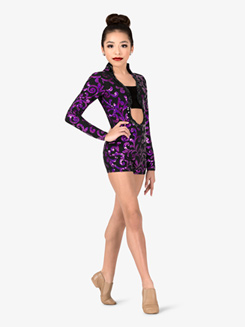 Girls Performance Swirl Sequin Open Back Shorty Unitard